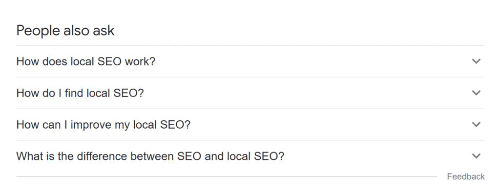 Local seo tips for small businesses people also ask