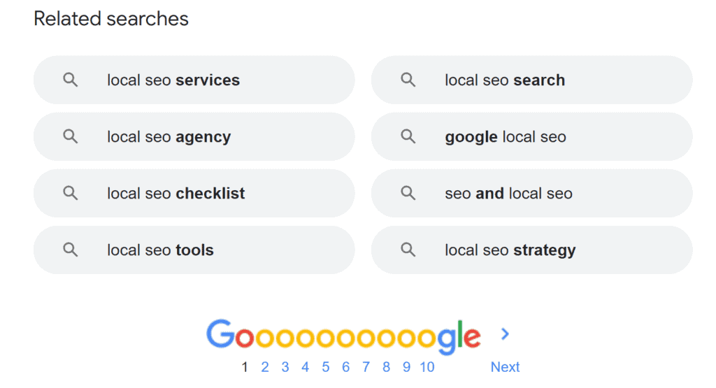 Local seo tips for small businesses with the realted searches section